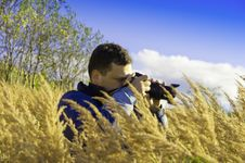 Young  Photographer On Gold Meadow Royalty Free Stock Photos