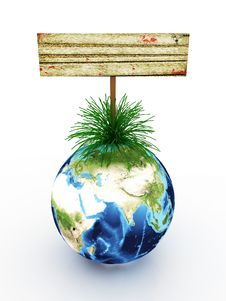 Free Earth With An Empty Signboard In The Grass Stock Photography - 14770632