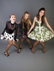Free Three Happy Retro-styled Girls Royalty Free Stock Image - 14770836