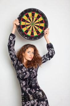 Free Beautiful Girl In Black Dress With Darts Stock Photos - 14771693