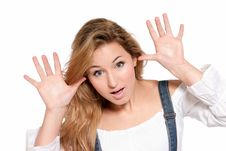 Free Young Female Cheerful Joking With Hands Isolated Stock Images - 14773324