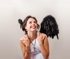 Free Cute Girl Playing An Angel Stock Photos - 14773383