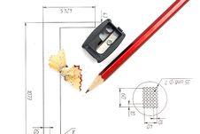 Sharpener, Pencil, Blueprints Stock Image