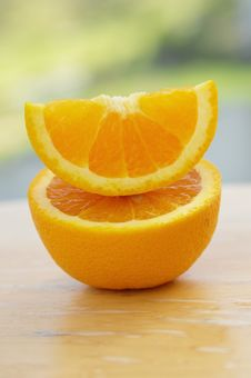 Free Stacked Cut Orange On Wood Royalty Free Stock Photo - 14774855