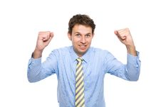 Free Businessman With His Arms Up, Celebrating Success Stock Photography - 14775202