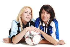 Free Two Soccer Girls Wit Ball. Stock Image - 14775311
