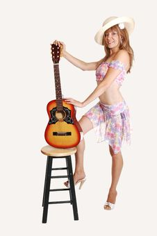 Free Blond Girl With Guitar. Stock Photography - 14775322