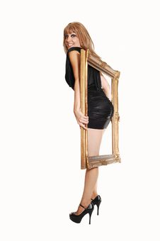 Standing Girl With Frame. Royalty Free Stock Photos