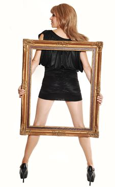 Standing Girl With Frame. Stock Image