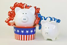 Free Two Patriotic Piggy Banks Royalty Free Stock Photography - 14775587