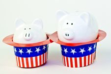 Free Two Patriotic Piggy Banks Stock Images - 14775594