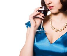 Free Woman With Glass Red Wine Stock Images - 14778124