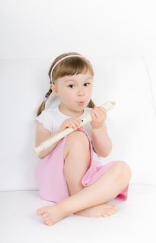 Free Little Girl With Instrument Royalty Free Stock Image - 14778246