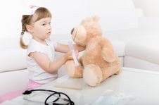 Free Little Girl Doctor With Teddy Bear Stock Image - 14778251