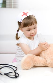 Free Little Girl Doctor With Teddy Bear Royalty Free Stock Photo - 14778295