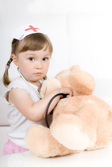 Free Little Girl Doctor With Teddy Bear Royalty Free Stock Image - 14778306