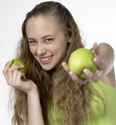 Free Woman With Apples Stock Image - 14778811