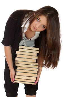 Free Girl-student With Books, Isolated. Stock Photo - 14778840