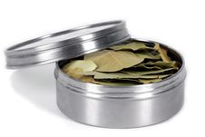 Free Bay Leafs In Metal Box Stock Photography - 14779362