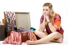 Free Hippie Girl And Old  Suitcase Royalty Free Stock Image - 14779436