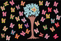 Free Big Tree On Black Background With Butterfly Stock Image - 14783601