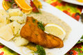 Free Deep Fried Fresh Cod Fish With Potato And Sauce Royalty Free Stock Photo - 14787695