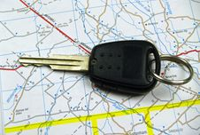 Free Single Car Key On Map Royalty Free Stock Photo - 14780095