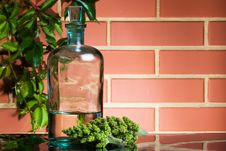 Free Old Bottle On Brick Wall Background Royalty Free Stock Photography - 14782157