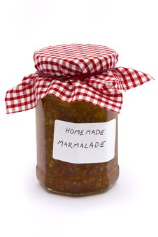 Free Jar Of Homemade Marmalade Over White Royalty Free Stock Photos - 14783088