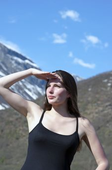 Free Woman In Mountains Royalty Free Stock Image - 14783566