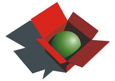 Green Ball In Red Box Royalty Free Stock Images