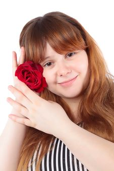 Smiling Young Woman With Flower Stock Photo
