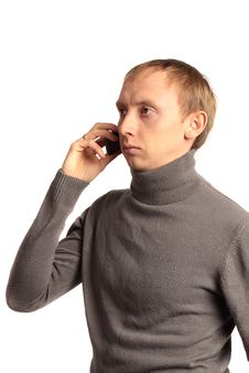 Confident Strong Man Call On The Phone Royalty Free Stock Photos