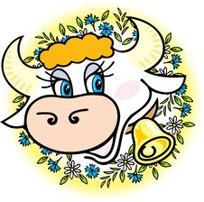 Free A Good Cow In Flowers Royalty Free Stock Images - 14785699