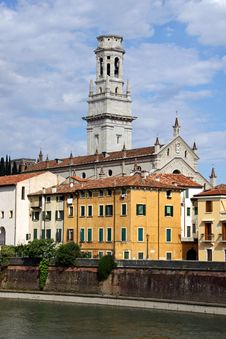 The Duomo Church Bell Tower In Verona, Italy Stock Images