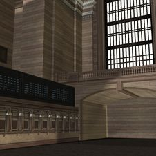 Free An Empty Central Station. 3D Rendering With Royalty Free Stock Photos - 14786638