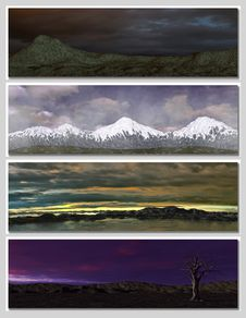 Free Four Different Fantasy Landscapes For Banner, Royalty Free Stock Photos - 14786648