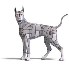 Electronical Scifi Dog Of The Future. 3D Stock Photos
