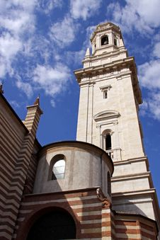 The Duomo Church Bell Tower In Verona, Italy Stock Photography