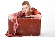 Free Hippie Girl And Old  Suitcase Stock Photography - 14786922