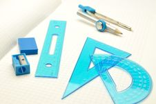 Rulers, Compasses, Eraser With Sharpener For Noteb Stock Image