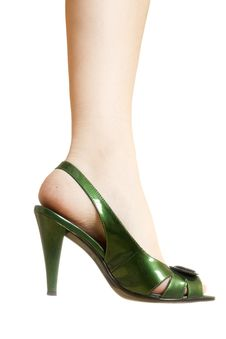 Free Sexy Green Leather High Heels Stilettos Shoes Royalty Free Stock Photography - 14788227