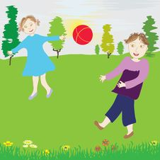Free Scene - Children Play The Red Ball Stock Photography - 14788972