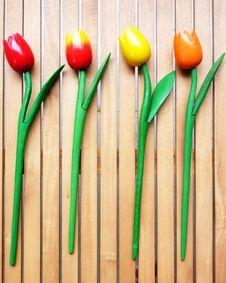 Colorful Fake Tulips Stock Photo