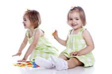 Free Small Children Play With Toys Royalty Free Stock Image - 14789366