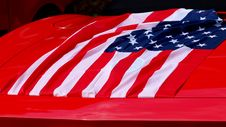US Flag On Car Trunk Stock Image