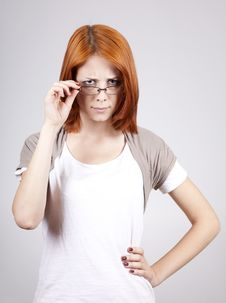 Free Young Businesswomen In White With Glasses Royalty Free Stock Images - 14791039