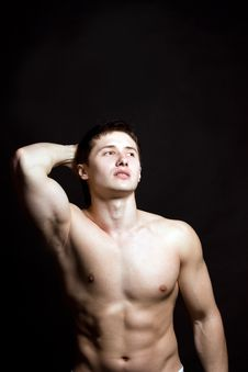 Portrait Of A Shirtless Muscular Young Man