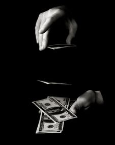 Free Hands With Dollars Over Black Stock Photography - 14791912