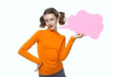 Free Young Girl Speaking, Holding Bubbles Chat Royalty Free Stock Photo - 14791915